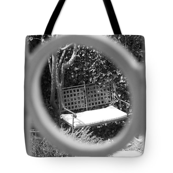 Metal Bench In Sedona Tote Bag