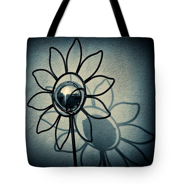 Metal Flower Tote Bag by Dave Bowman