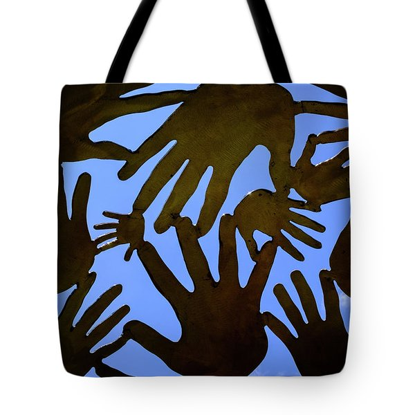 Metal Hands All Over The Place In Orlando Florida Tote Bag