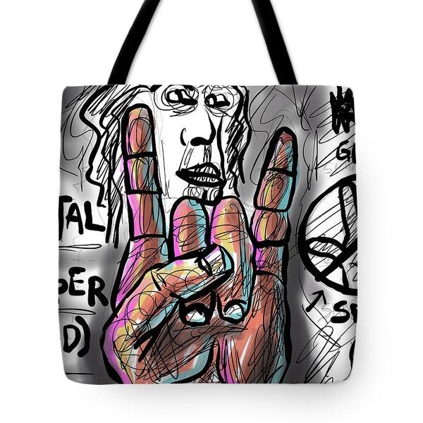 Tote Bag featuring the digital art Metal Horns by Joe Bloch