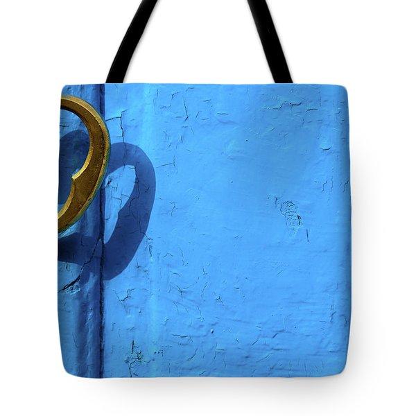 Metal Knob Blue Door Tote Bag by Prakash Ghai