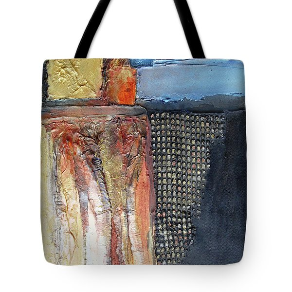 Tote Bag featuring the mixed media Metallic Fall With Blue by Phyllis Howard