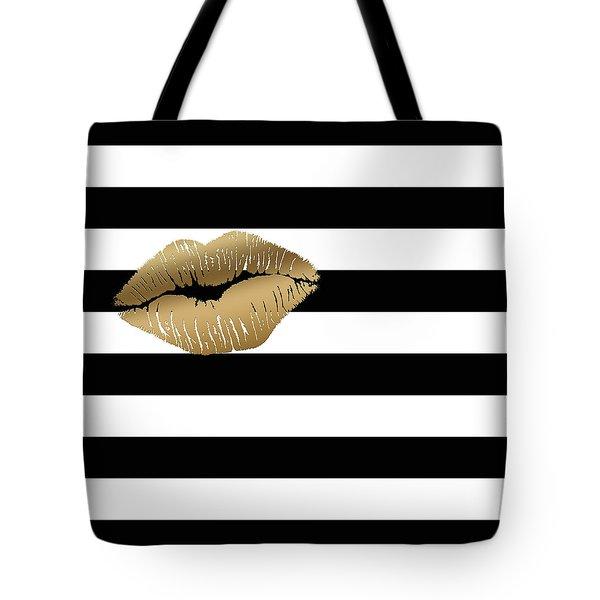 Metallic Gold Lips Black And White Stripes Tote Bag
