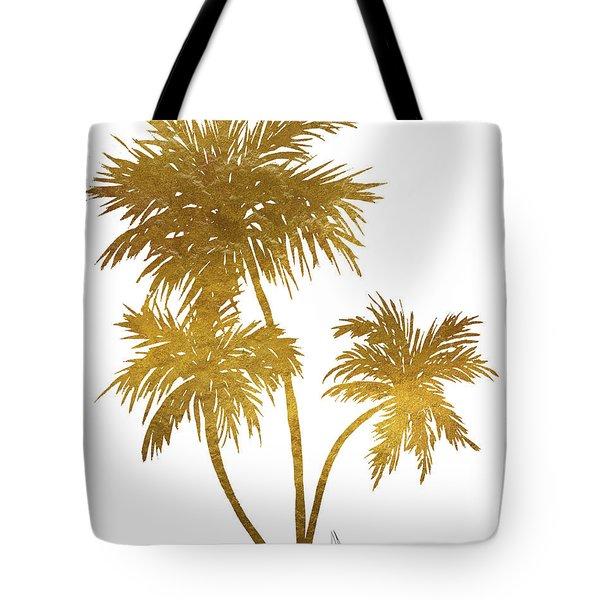 Metallic Gold Palm Trees Tropical Trendy Art Tote Bag