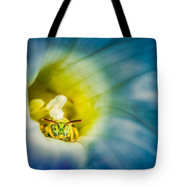 Metallic Green Bee In Blue Morning Glory Tote Bag