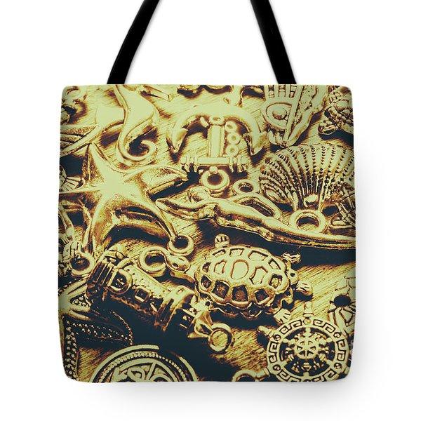 Metallic Marine Scene Tote Bag