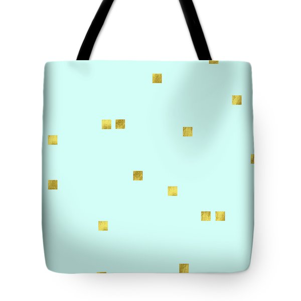 Metallic Square Confetti Print, Gold Squares On Aqua Tote Bag