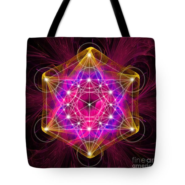 Metatron's Cube With Flower Of Life Tote Bag