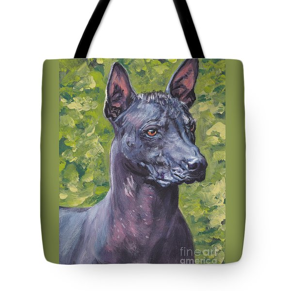 Tote Bag featuring the painting Mexican Hairless Dog Standard Xolo by Lee Ann Shepard