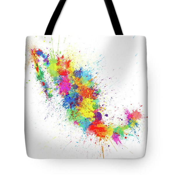 Mexico Paint Splashes Map Tote Bag