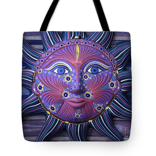 Mexico Sun Face Fantasy Still Life - Blue Sun Face Tote Bag