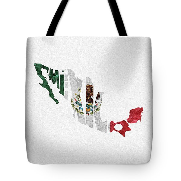 Mexico Typographic Map Flag Tote Bag
