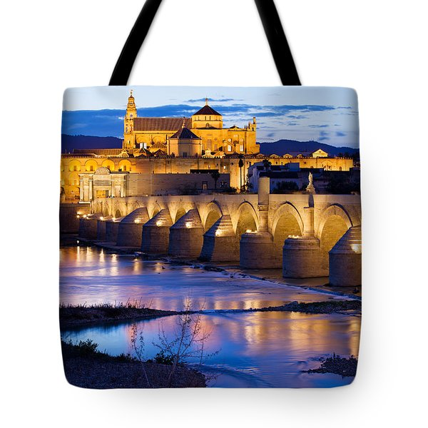 Cathedral Mosque And Roman Bridge In Cordoba Tote Bag