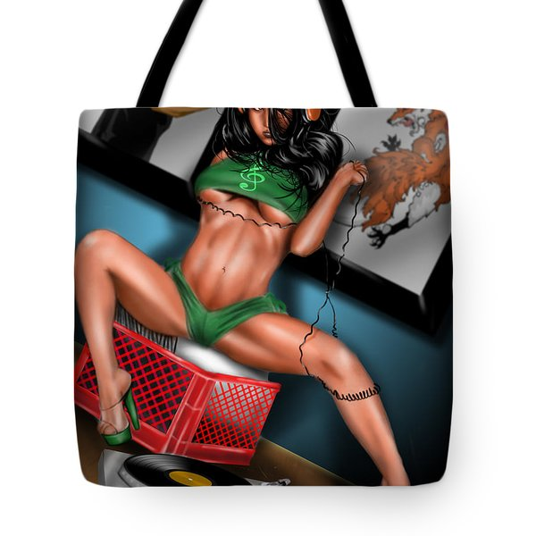 Tote Bag featuring the painting Mezzo Forte Remix by Pete Tapang