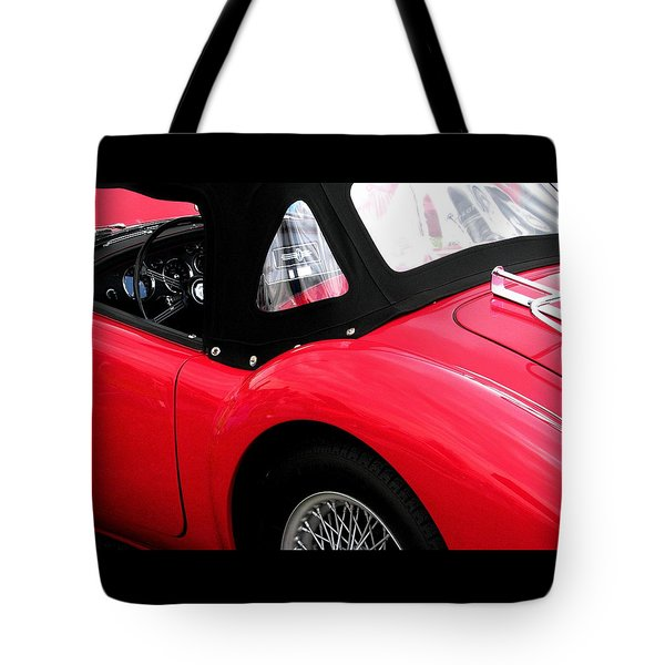 M G  Red Tote Bag by Angela Davies