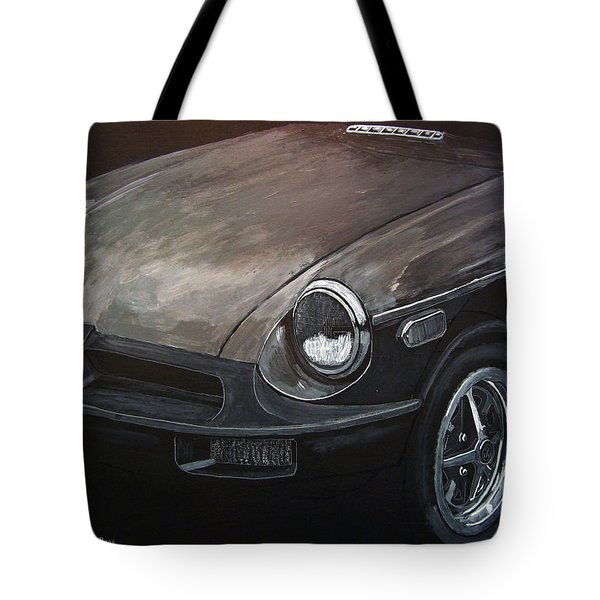 Tote Bag featuring the painting Mgb Rubber Bumper Front by Richard Le Page