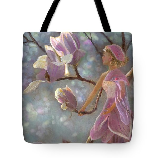 Tote Bag featuring the painting Mia Magnolia Fairy by Nancy Lee Moran