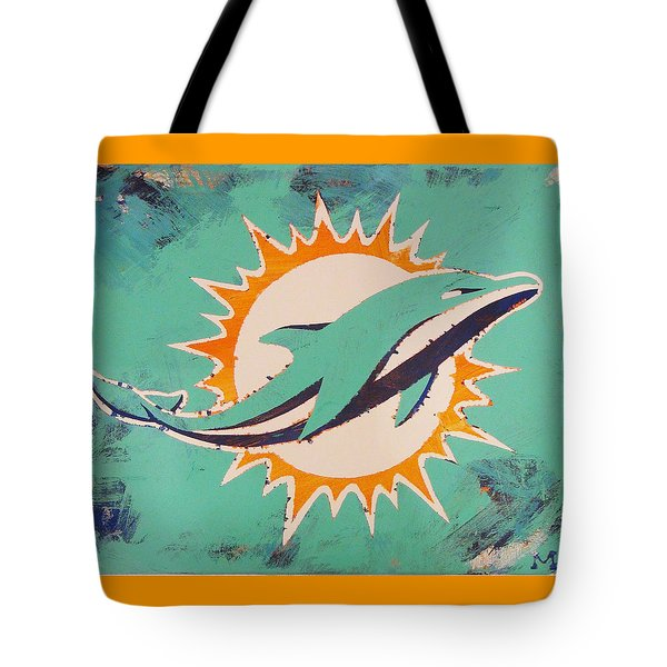 Tote Bag featuring the painting Miami Dolphins by Candace Shrope