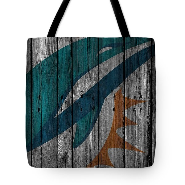 Miami Dolphins Wood Fence Tote Bag