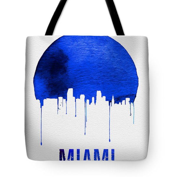 Miami Skyline Blue Tote Bag