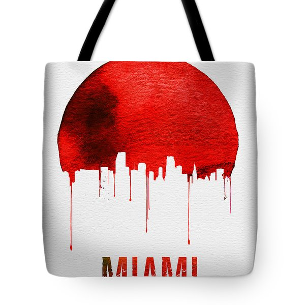 Miami Skyline Red Tote Bag by Naxart Studio