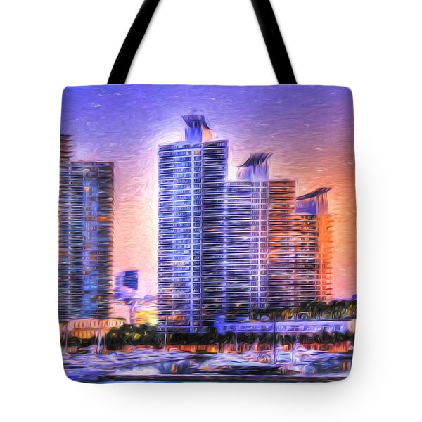 Tote Bag featuring the photograph Miami Skyline Sunrise by Shelley Neff