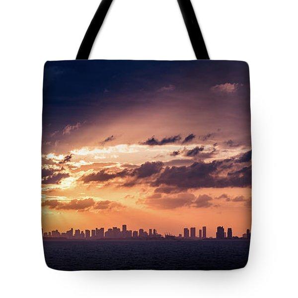 Miami Sunset Pano Tote Bag