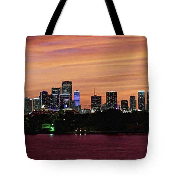Miami Sunset Panorama Tote Bag