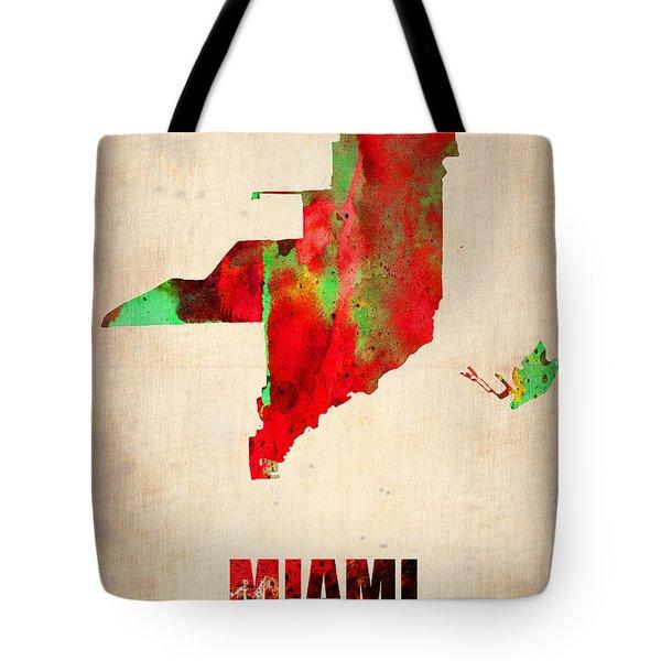 Miami Watercolor Map Tote Bag by Naxart Studio