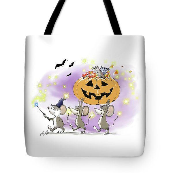 Mic, Mac, And Moe's Happy Halloween Tote Bag