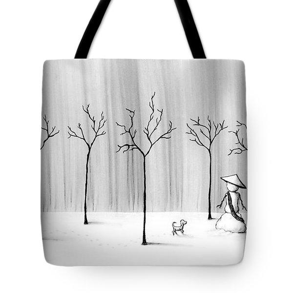 Micah Monk 10 - Snowmonk Tote Bag by Lori Grimmett