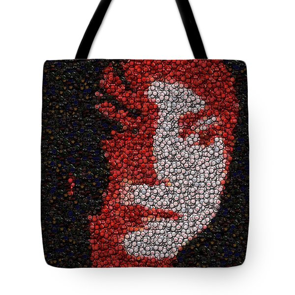 Tote Bag featuring the mixed media Michael Jackson Bottle Cap Mosaic by Paul Van Scott