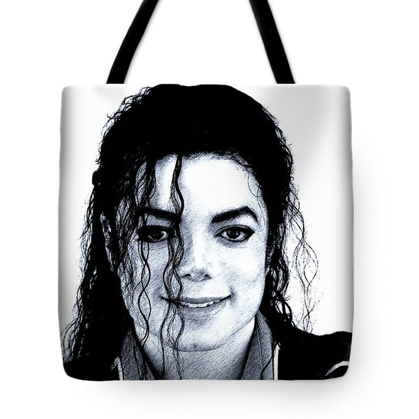 Tote Bag featuring the drawing Michael Jackson Pencil Drawing  by Movie Poster Prints