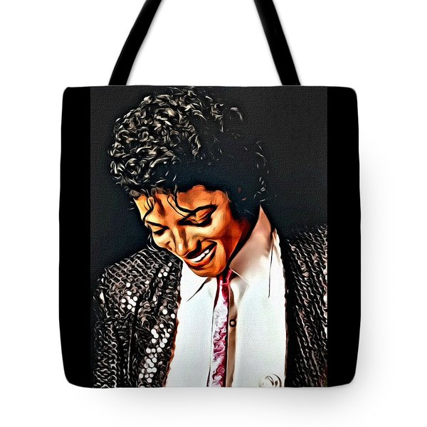Tote Bag featuring the painting Michael Jackson The Ultimate Humanitarian by Karen Showell