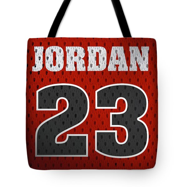 Michael Jordan Chicago Bulls Retro Vintage Jersey Closeup Graphic Design Tote Bag by Design Turnpike