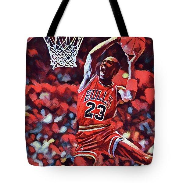 Tote Bag featuring the painting Michael Jordan Slam Dunk by Dan Sproul