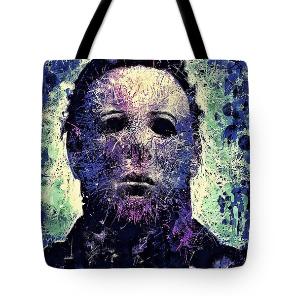 Tote Bag featuring the mixed media Michael Myers by Al Matra