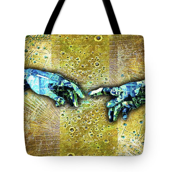 Tote Bag featuring the mixed media Michelangelo's Creation Of Man by Tony Rubino