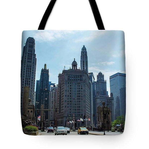 Michigan Avenue Bridge And Skyline Chicago Tote Bag by Deborah Smolinske