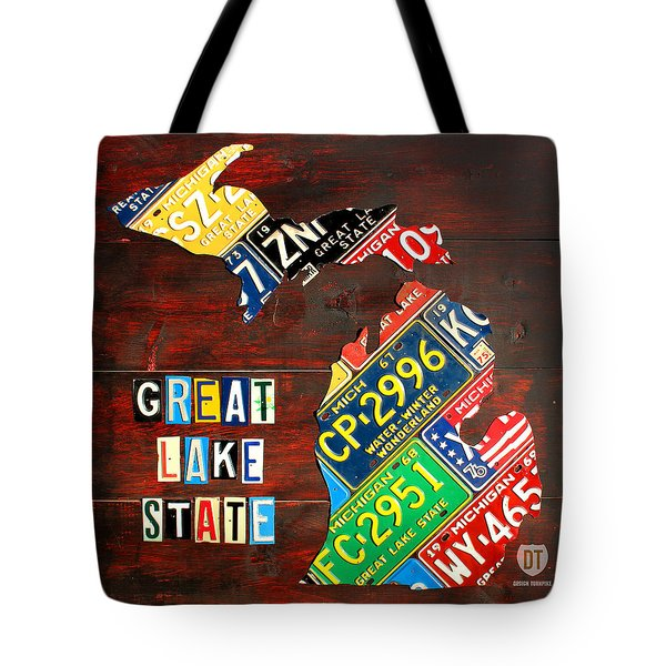 Michigan License Plate Map Tote Bag by Design Turnpike