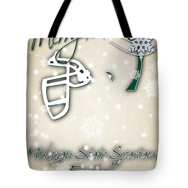 Michigan State Spartans Christmas Card 2 Tote Bag by Joe Hamilton