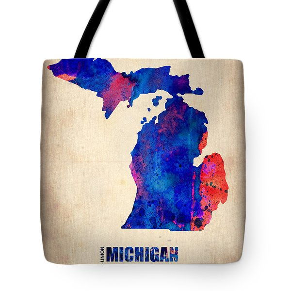 Michigan Watercolor Map Tote Bag by Naxart Studio