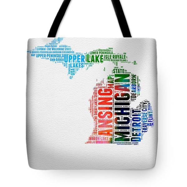 Michigan Watercolor Word Cloud Tote Bag