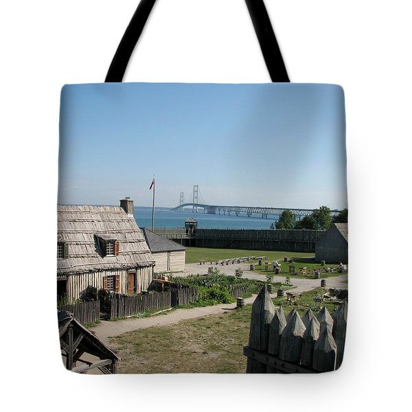 Michilimackinac And Mackinac Bridge Tote Bag