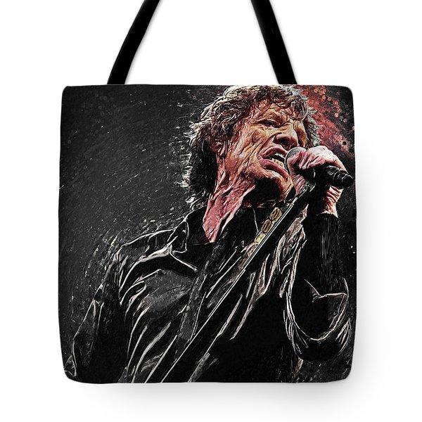 Tote Bag featuring the digital art Mick Jagger by Taylan Apukovska