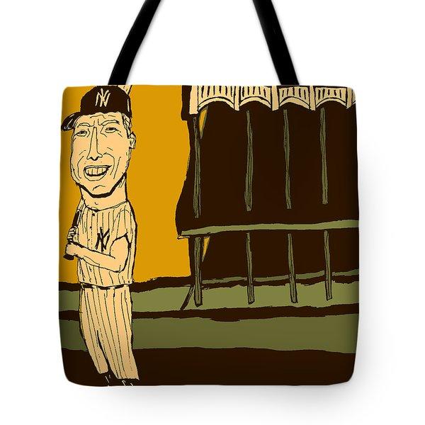 Mickey Mantle Yankee Stadium Tote Bag by Jay Perkins