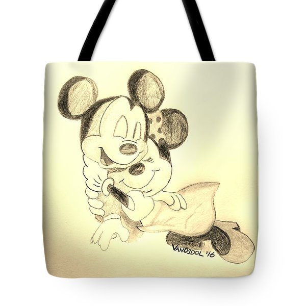 Mickey Minnie Cuddle Buddies - Sepia Tote Bag