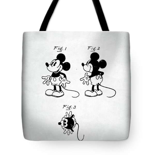 Tote Bag featuring the digital art Mickey Mouse Patent by Taylan Apukovska