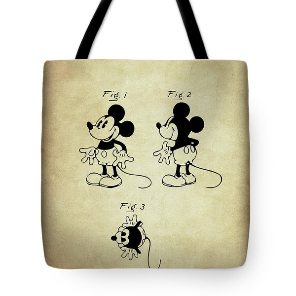 Tote Bag featuring the digital art Mickey Mouse Patent Vintage by Taylan Apukovska