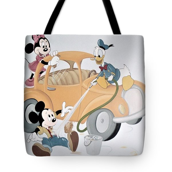Micky,minnie And Donald On Car Tote Bag